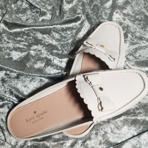 Kate Spade white slip on loafers